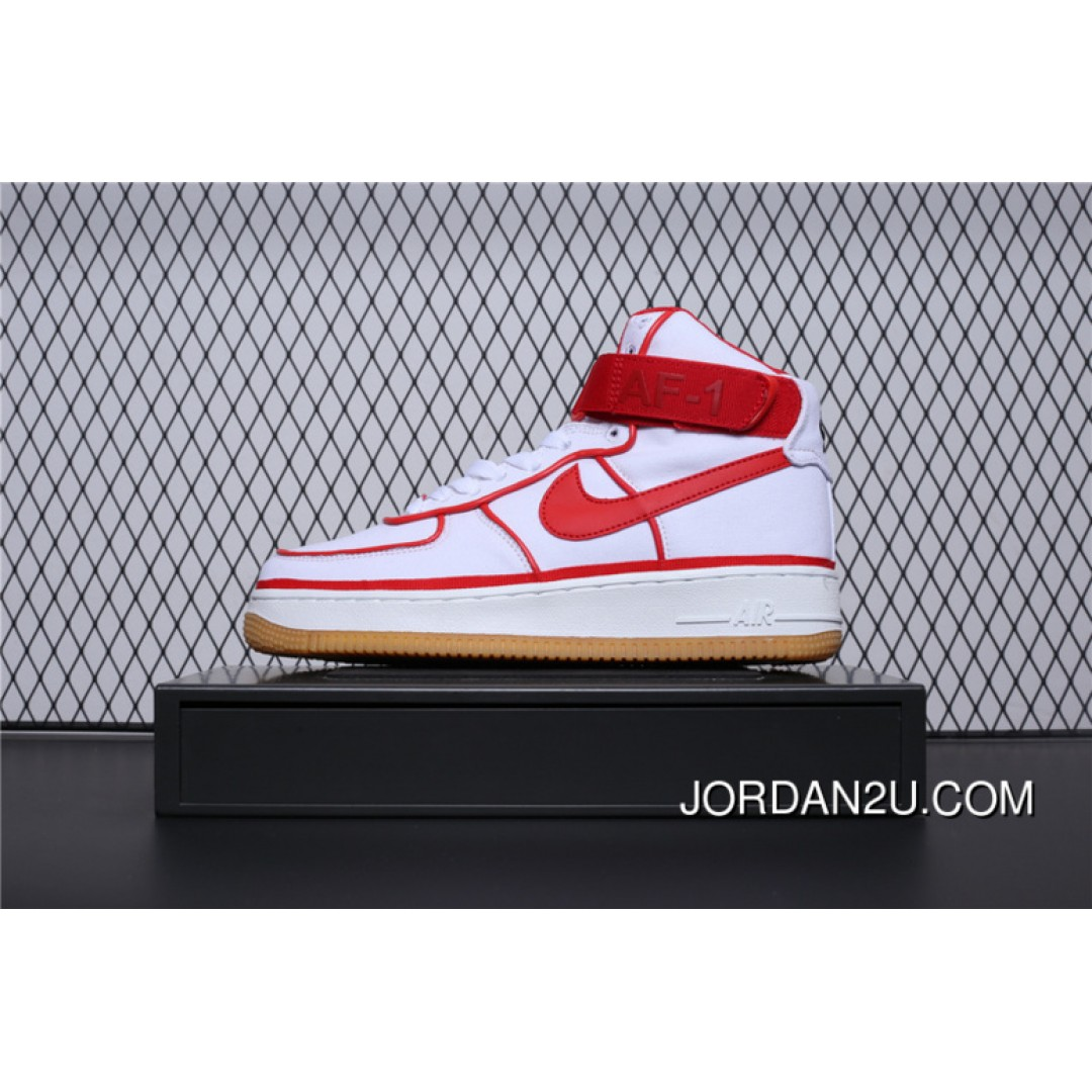 806403-101 Nike Air Force One Premium High 07 Lv8 Classic High Retro Casual  Sport Sneakers Built-In Solo Zoom Canvas White Red Edge Women Shoes And Men  ... 750c133d4025